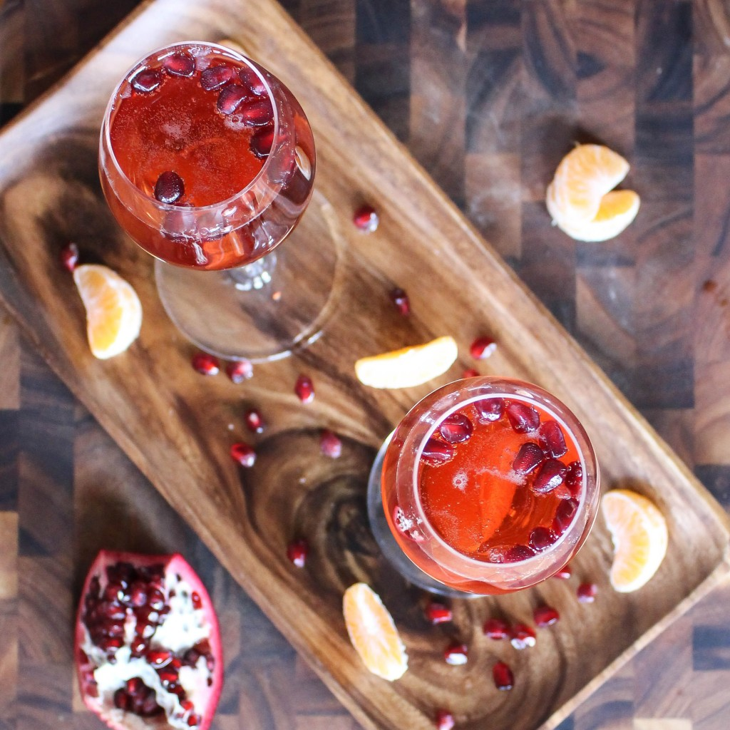 pomegranade clementine champagne cocktail